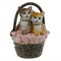Treasured Trinkets Two Cats In Basket