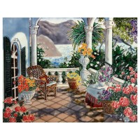View From The Terrace Hand Painted Ceramic Tile
