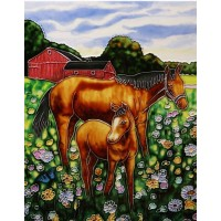 Mother & Foal Hand Painted Ceramic Tile