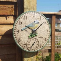 Blue Tit Wall Clock & Thermometer 12""