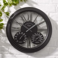Exeter Clock & Thermometer Black
