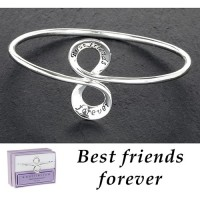 Silver Plated Message Bangle - Friends