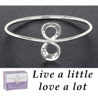 Silver Plated Message Bangle - Live