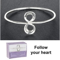 Silver Plated Message Bangle - Follow