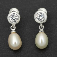 Silverplated Pearl Teardrop Earrings