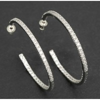 Platinum Plated Diamante Hoop Earrings
