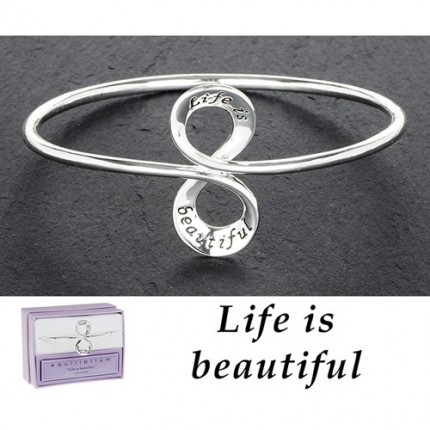 Silver Plated Message Bangle - Life