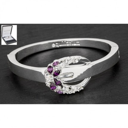 Silverplated Lilac Buckle Bangle