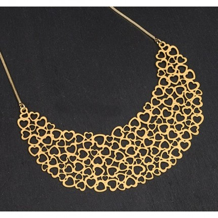 Gold Plated Filigree Hearts Necklace