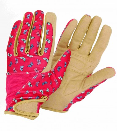 Profession'elle' Pink Butterflies Gloves Medium